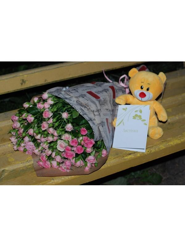 Кущова троянда + ведмежа