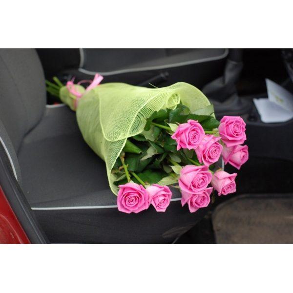 9 рожевих троянд