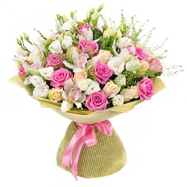 Орхідеї з трояндами та еустомою